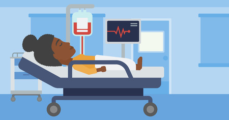 woman lying in bed: An african-american young woman lying in bed at hospital ward. Patient with heart rate monitor and equipment for blood transfusion in medical room. Vector flat design illustration. Horizontal layout.