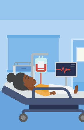woman lying in bed: An african-american young woman lying in bed at hospital ward. Patient with heart rate monitor and equipment for blood transfusion in medical room. Vector flat design illustration. Vertical layout. Illustration