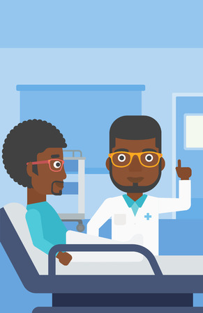 pointing finger up: An african-american doctor visiting male patient and pointing finger up during consultation in hospital room. Vector flat design illustration. Vertical layout. Illustration