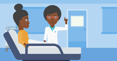 finger up: An african-american female doctor visiting female patient and pointing finger up during consultation in hospital room. Vector flat design illustration. Horizontal layout.