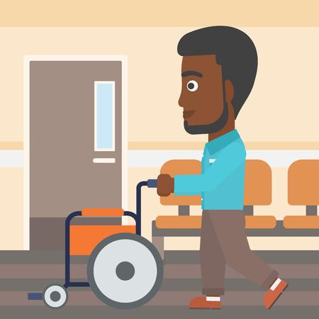 Een Afro-Amerikaanse man met de baard duwen lege rolstoel op de achtergrond van het ziekenhuis gang. Vector platte ontwerp illustratie. Vierkante lay-out. Stock Illustratie