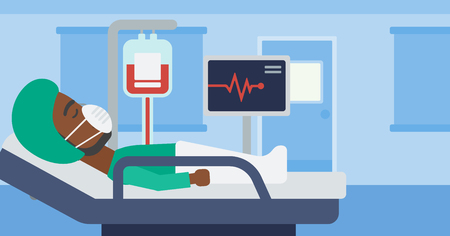 blood pressure monitor: An african-american man in oxygen mask lying in hospital ward with heart rate monitor and equipment for blood transfusion. Vector flat design illustration. Horizontal layout.