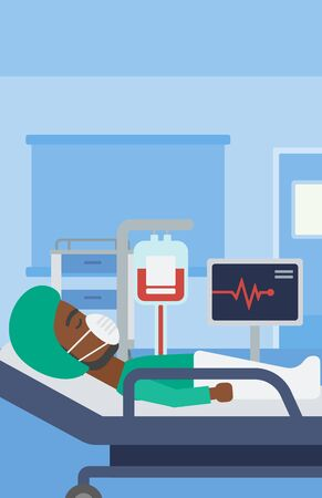 blood pressure monitor: An african-american man in oxygen mask lying in hospital ward with heart rate monitor and equipment for blood transfusion. Vector flat design illustration. Vertical layout.