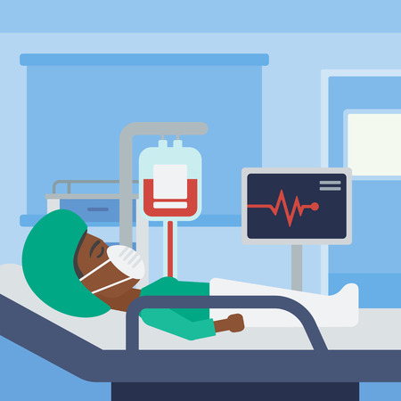 heart monitor: An african-american woman in oxygen mask lying in hospital ward with heart rate monitor and equipment for blood transfusion. Vector flat design illustration. Square layout.