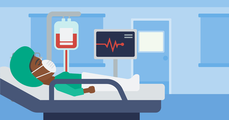 oxygen mask: An african-american woman in oxygen mask lying in hospital ward with heart rate monitor and equipment for blood transfusion. Vector flat design illustration. Horizontal layout. Illustration
