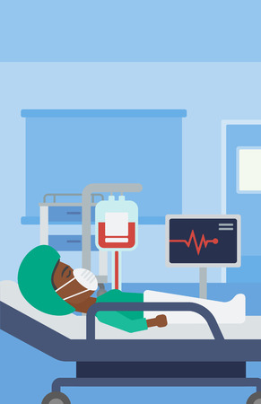 oxygen mask: An african-american woman in oxygen mask lying in hospital ward with heart rate monitor and equipment for blood transfusion. Vector flat design illustration. Vertical layout.