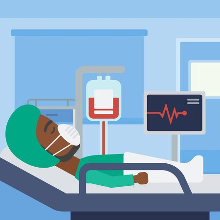 oxygen mask: An african-american man in oxygen mask lying in hospital ward with heart rate monitor and equipment for blood transfusion. Vector flat design illustration. Square layout.