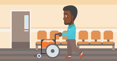 Een Afro-Amerikaanse man met de baard duwen lege rolstoel op de achtergrond van het ziekenhuis gang. Vector platte ontwerp illustratie. Horizontale lay-out. Stock Illustratie