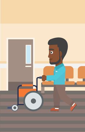 Een Afro-Amerikaanse man met de baard duwen lege rolstoel op de achtergrond van het ziekenhuis gang. Vector platte ontwerp illustratie. Verticale lay-out. Stock Illustratie