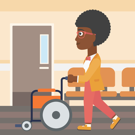 corridor: An african-american woman pushing empty wheelchair on the background of hospital corridor. Vector flat design illustration. Square layout. Illustration