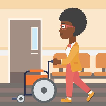 Een Afro-Amerikaanse vrouw duwen lege rolstoel op de achtergrond van het ziekenhuis gang. Vector platte ontwerp illustratie. Vierkante lay-out.