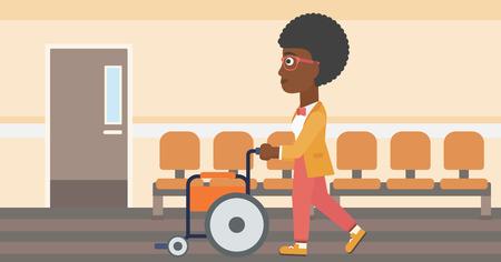 Een Afro-Amerikaanse vrouw duwen lege rolstoel op de achtergrond van het ziekenhuis gang. Vector platte ontwerp illustratie. Horizontale lay-out. Stock Illustratie