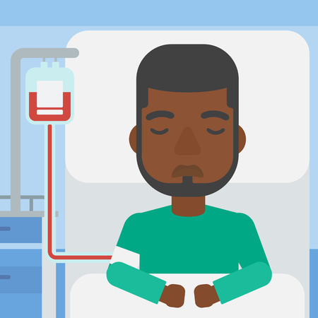 lying in: An african-american man lying in bed at hospital ward with equipment for blood transfusion. Vector flat design illustration. Square layout. Illustration