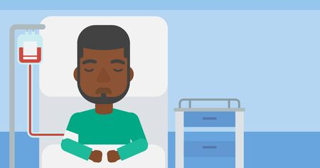 reanimation: An african-american man lying in bed at hospital ward with equipment for blood transfusion. Vector flat design illustration. Horizontal layout. Illustration