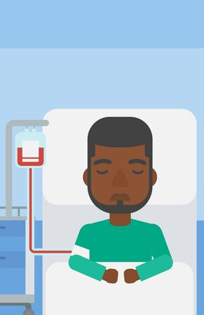 blood transfusion: An african-american man lying in bed at hospital ward with equipment for blood transfusion. Vector flat design illustration. Vertical layout.