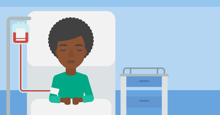 woman lying in bed: An african-american woman lying in bed at hospital ward with equipment for blood transfusion. Vector flat design illustration. Horizontal layout.