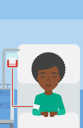 woman lying in bed: An african-american woman lying in bed at hospital ward with equipment for blood transfusion. Vector flat design illustration. Vertical layout.