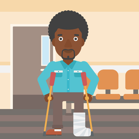 hospital corridor: An african-american injured man with leg in plaster using crutches while standing in the hospital corridor. Vector flat design illustration. Square layout.