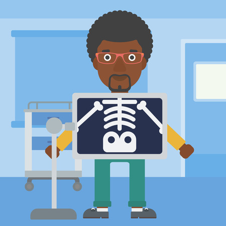 xray machine: An african-american man with x ray screen showing his skeleton in examination room. Vector flat design illustration. Square layout.