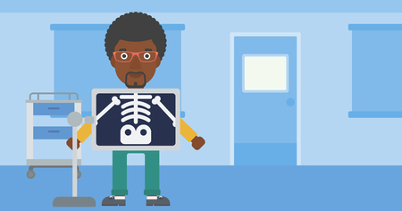 radiograph: An african-american man with x ray screen showing his skeleton in examination room. Vector flat design illustration. Horizontal layout. Illustration