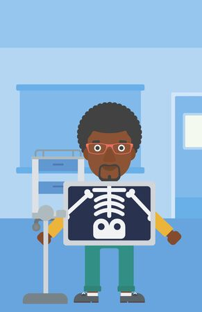 xray machine: An african-american man with x ray screen showing his skeleton in examination room. Vector flat design illustration. Vertical layout.