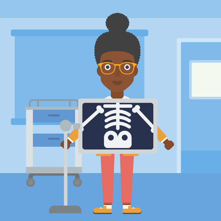 xray machine: An african-american woman with x ray screen showing her skeleton in examination room. Vector flat design illustration. Square layout.