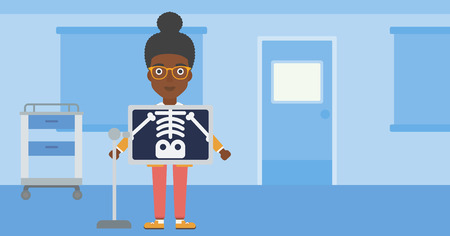 skeleton x ray: An african-american woman with x ray screen showing her skeleton in examination room. Vector flat design illustration. Horizontal layout.