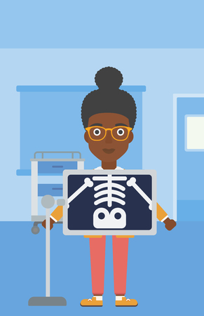 skeleton x ray: An african-american woman with x ray screen showing her skeleton in examination room. Vector flat design illustration. Vertical layout. Illustration