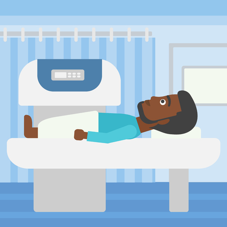procedure: An african-american young man with the beard undergoes an open magnetic resonance imaging scan procedure in hospital rooom. Vector flat design illustration. Square layout.