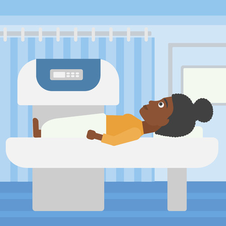 procedure: An african-american woman undergoes an open magnetic resonance imaging scan procedure in hospital rooom. Vector flat design illustration. Square layout. Illustration