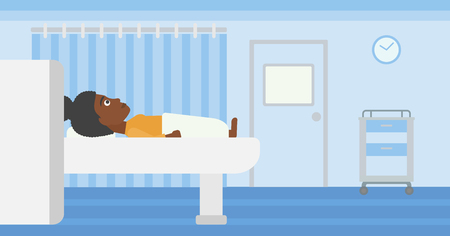 An african-american woman undergoes magnetic resonance imaging scan test at hospital room. Vector flat design illustration. Horizontal layout.