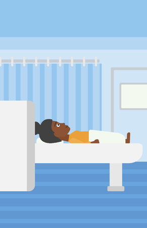 magnetic resonance imaging: An african-american woman undergoes magnetic resonance imaging scan test at hospital room. Vector flat design illustration. Vertical layout.