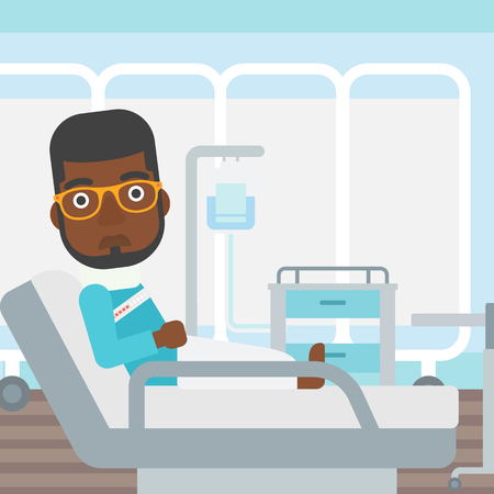 An african-american man with neck brace lying in bed in hospital ward and suffering from pain. Vector flat design illustration. Square layout. Illustration