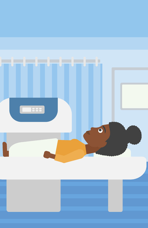 An african-american woman undergoes an open magnetic resonance imaging scan procedure in hospital rooom. Vector flat design illustration. Vertical layout. Иллюстрация