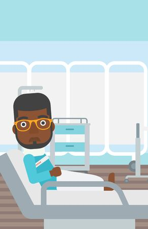 lying in: An african-american man with neck brace lying in bed in hospital ward and suffering from pain. Vector flat design illustration. Vertical layout. Illustration