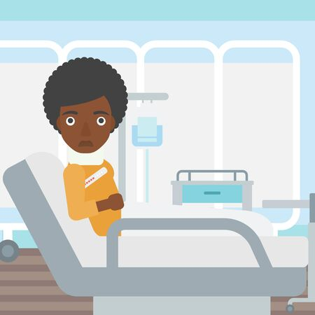 An african-american woman with neck brace lying in bed in hospital ward and suffering from pain. Vector flat design illustration. Square layout. Illustration