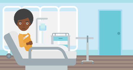 woman lying in bed: An african-american woman with neck brace lying in bed in hospital ward and suffering from pain. Vector flat design illustration. Horizontal layout.