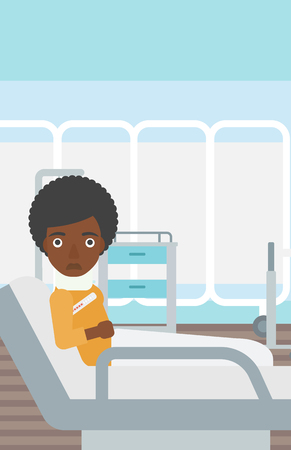 An african-american woman with neck brace lying in bed in hospital ward and suffering from pain. Vector flat design illustration. Vertical layout. Illustration