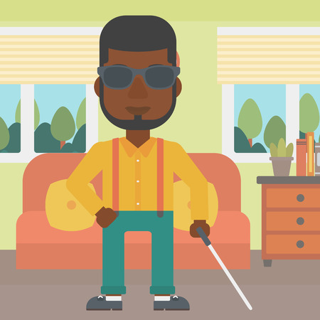 blind man: An african-american blind man in dark glasses standing with walking stick in the living room. Vector flat design illustration. Square layout.