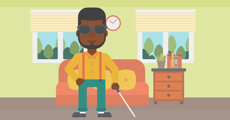 blind man: An african-american blind man in dark glasses standing with walking stick in the living room. Vector flat design illustration. Horizontal layout.