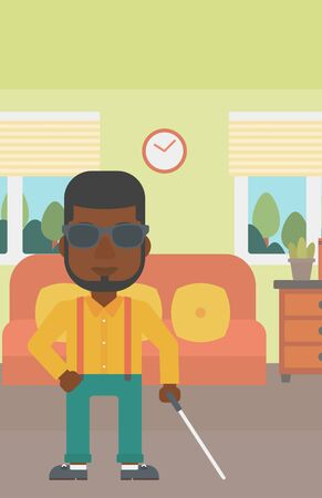 poor eyesight: An african-american blind man in dark glasses standing with walking stick in the living room. Vector flat design illustration. Vertical layout.