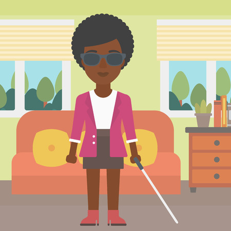blind woman: An african-american blind young woman in dark glasses standing with walking stick in the living room. Vector flat design illustration. Square layout.