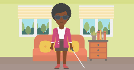 blind woman: An african-american blind young woman in dark glasses standing with walking stick in the living room. Vector flat design illustration. Horizontal layout.