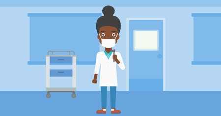 otolaryngologist: An african-american female ear nose throat doctor in mask holding tools used for examination while standing in the medical office. Vector flat design illustration. Horizontal layout.