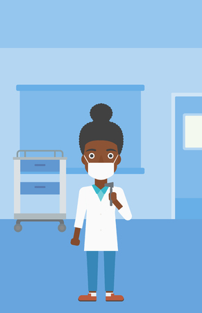 otolaryngologist: An african-american female ear nose throat doctor in mask holding tools used for examination while standing in the medical office. Vector flat design illustration. Vertical layout.