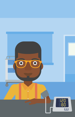 hand cuff: An african-american man taking care of his health and checking his blood pressure with digital meter. Vector flat design illustration. Vertical layout.