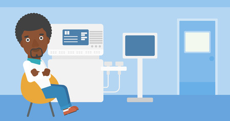ultrasound: An african-american male ultrasound doctor sitting with arms crossed near modern ultrasound equipment at medical office. Vector flat design illustration. Horizontal layout. Illustration