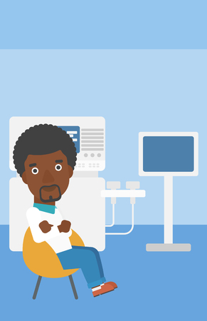 ultrasound: An african-american male ultrasound doctor sitting with arms crossed near modern ultrasound equipment at medical office. Vector flat design illustration. Vertical layout.