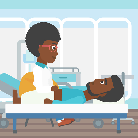 doctor and patient vector: An african-american female doctor touching abdomen of patient. Man on reception at doctor. Vector flat design illustration. Square layout.
