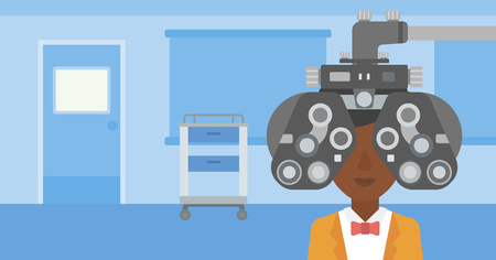 An african-american woman undergoing an eye examination while visiting optometrist at the medical office. Vector flat design illustration. Horizontal layout. Illustration
